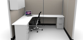 Budget 6X8 Cubicle 67″ With Files / Bin