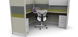 Tiled 6X6 Cubicles 67″ With Files / Bin