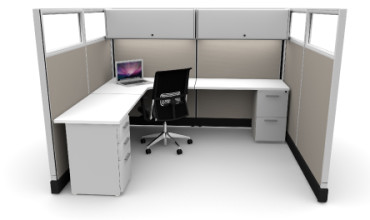 Budget 6X8 Cubicles with Files / Bins / Glass