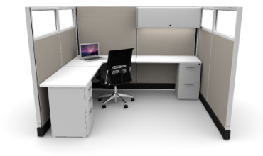 Budget 6X8 Cubicles with Files / Bin / Glass