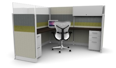 Tiled 6X6 Cubicles 67″ With Files / Bin / Glass