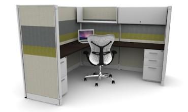 Tiled 6X6 Cubicles 67″ With Files / Bin / Shelf