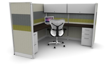 Tiled 6X6 Cubicles 67″ With Files / Two Bins